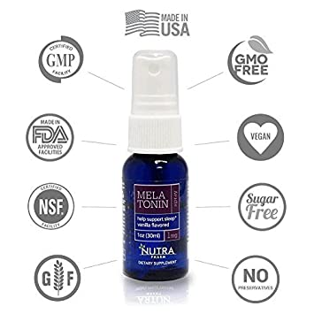 Nutra Pharm Melatonin Spray 1 mg/1oz (30ml) Guarantees Deep Sleep, Supports