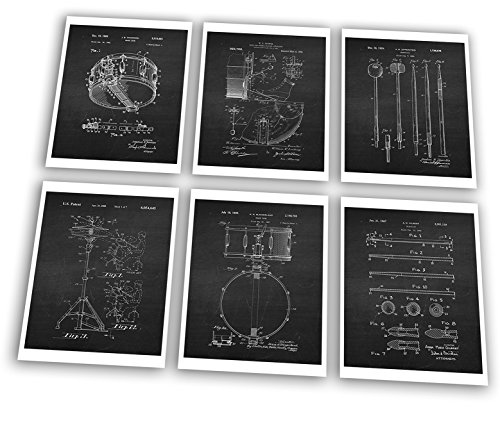 Drum Posters Set of 6 Unframed Patent Art Chalkboard Gift for Drummer 8x10