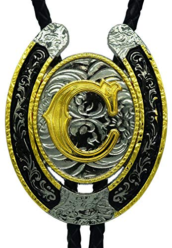 Moranse Upgrate Bolo Tie Golden Initial Letter A to Z In Western Cowboy Horseshoe Style with Cowhide Rope Necktie(C)