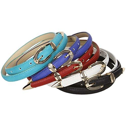 BMC 5pc Mix Color Metal Accents Faux Leather Womens Fashion Skinny Belt Set