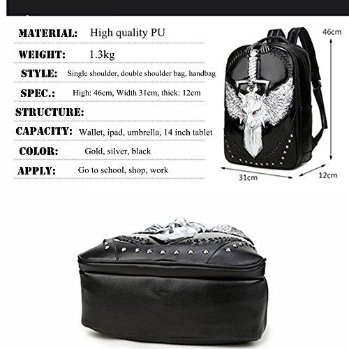 Doble bandolera Halloween Rock unisex 3D Leopard Head iPad mochila Plateado