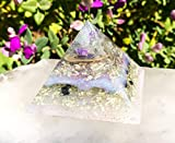 Violet Flame Orgone Pyramid/White Light Crystal Pyramid/Orgonite Pyramid