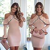 Meolin Sexy Ruffle Off Shoulder Bodycon Cocktail Dress Mini Dress ,Pink,XL
