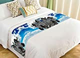 PicaqiuXzzz Custom African Animal Bed Runner, Funny Zebras against the Blue Sky Bed Runners And Scarves Bed Decoration 20x95 inch