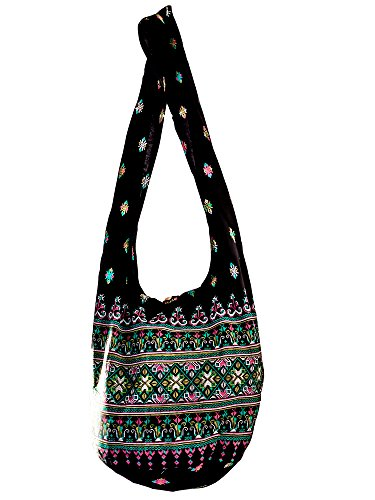 Sling Cross body BAG SHOPPING COTTON over 40 prints owl koi turtle daisy peacock aztec paisley elephant YAM Shoulder BIG (Black (Bag Hippie Bag)