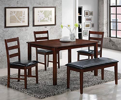 Mollai Collection 5 Pc Dining Table with 3 Chairs 1 Bench - Espresso - Houston Tx (Houston Dining Chairs)