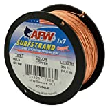 American Fishing Wire Surfstrand Copper 1x7 Bare Trolling Wire, Copper Color, 45 Pound Test, 300-Feet