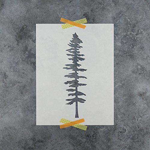 Tall Fir Tree Stencil Template for Walls and Crafts - Reusable Stencils for Painting in Small & Large Sizes