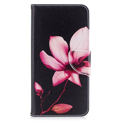 """Crisant Rosa Lotus Drucken Design schutzhülle für Apple iPhone 7 Plus 5.5"""" (5,5''),PU Leder Wallet Handytasche Flip Case Cover Etui Schutz Tasche mit Integrierten Card Kartensteckplätzen und Ständer F"""