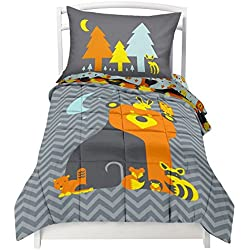 Toddler Reversible Bedding Set Woodland Creature - Adorable 4 Piece Set (1 Flat sheet, 1 Fitted sheet, 1 Pillowcase, & a Comforter) that fits a Toddler or Crib Mattress by Where The Polka Dots Roam