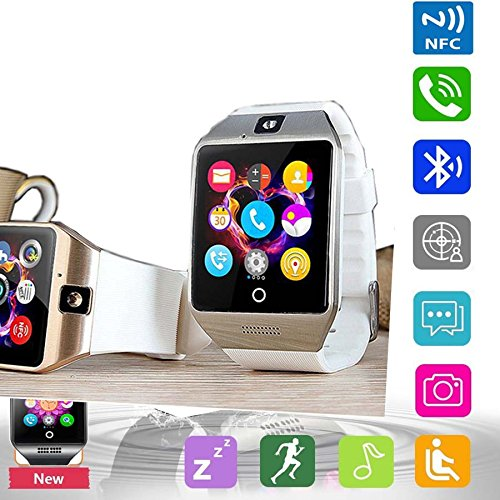 h Phone Pandaoo Smart Watch Mobile Phone Unlocked Universal GSM Bluetooth 4.0 NFC Music Player Camera Calendar Stopwatch Sync for Android iPhone Google Huawei Smartphones (White) ()