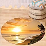 VROSELV Custom carpetHawaiian Decorations Collection Warm Tropical Sunset On Sands Of Kaanapali Beach In Maui Hawaii Destination For Travel Bedroom Living Room Dorm Round 72 inches
