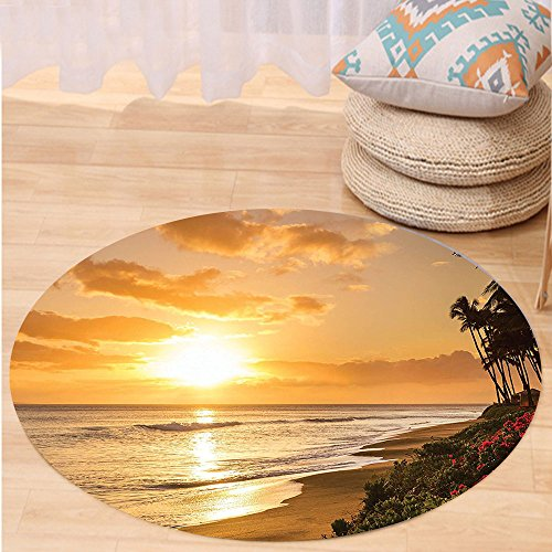 VROSELV Custom carpetHawaiian Decorations Collection Warm Tropical Sunset On Sands Of Kaanapali Beach In Maui Hawaii Destination For Travel Bedroom Living Room Dorm Round 72 inches by VROSELV
