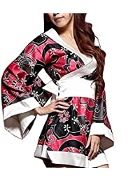 Mekoii Women's Satin Japan Kimono Floral Printing Nightgowns