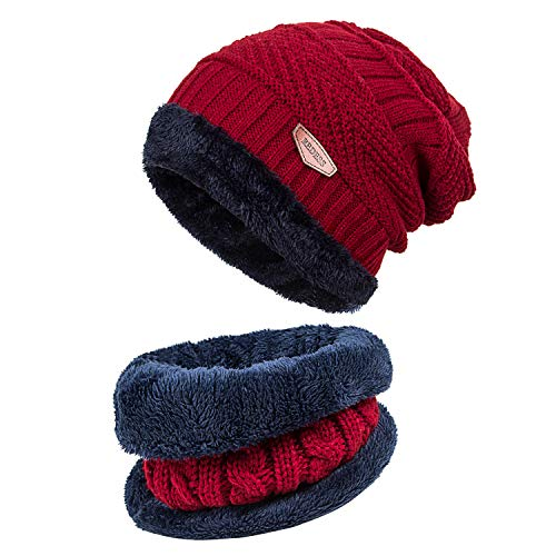 REDESS Winter Warm Beanie Knitting Hat Scarf Neck Warmer Set for Men and Women, Warm Fleece Lined Wool Baggy Slouchy Thick Ski Skull Cap(Wine Red) …