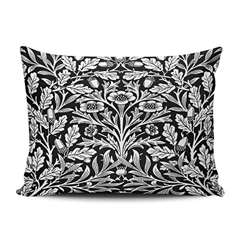 XIUBA Pillowcases Art Nouveau Floral Damask Black and White Customizable Cushion Decorative Rectangle 12X18 inch Boudoir Size Throw Pillow Cover Case Hidden Zipper One Sided Design Printed