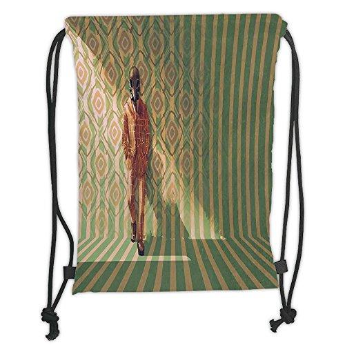 Custom Printed Drawstring Sack Backpacks Bags,Fantasy Art House Decor,Fashion Man with Gas Mask Fancy Suit before Retro Wall Kitsch Art,Orange Green Soft Satin,5 Liter Capacity,Adjustable String Closu