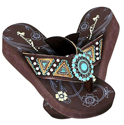 Montana West Embroidered Aztec Wedge Flip Flops w/TQ Concho- Coffee ()