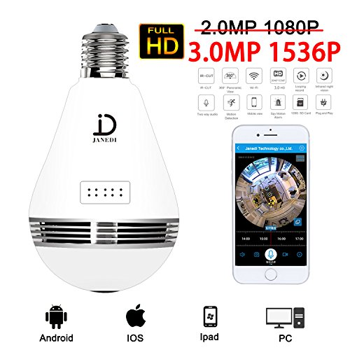 JANEDI Wifi Bulb Camera 360 Degree Panoramic IR Motion 3.0MP 1536P HD Wirless Hidden Camera Light And Infrared Night Vision For Home Security Systems ()