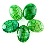 Gozebra(TM) 5pcs 20x15mm Charming Green Dragon Veins Agate Oval Cab Cabochon M-XL23