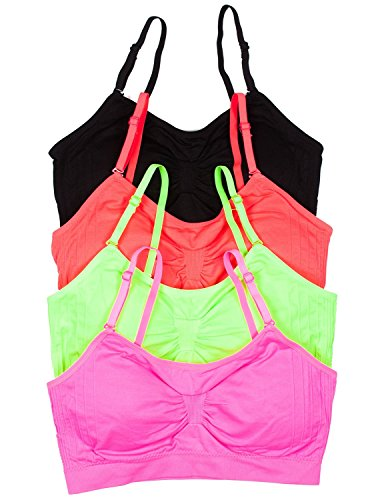 2 or 4 PACK: Seamless Removable Strap Bras,One Size,4 Pack: Black/N.Pink/N.Lime/N.Coral.4 Pa