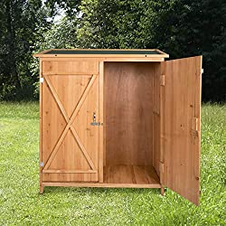 Peach Tree Wooden Outdoor Garden Shed Lockable Storage Unit with Double Doors