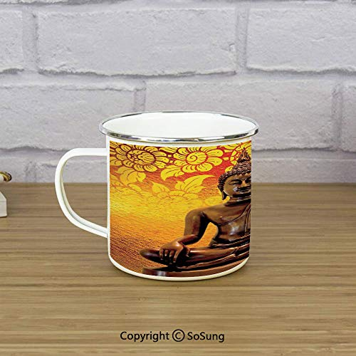 (Asian Decor Enamel Camping Mug Travel Cup,Antique Sculpture Sitting on Floor Floral Background Asian Oriental Pure Calm Home,11 oz Practical Cup for Kitchen, Campfire, Home, TravelOrange Bronze)