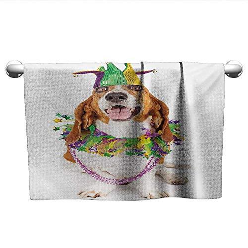Bensonsve Floral Hand Towels Mardi Gras,Happy Smiling Basset Hound Dog Wearing a Jester Hat Neck Garland Bead Necklace,Multicolor,Towel for car