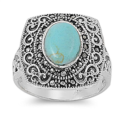 Vintage Filigree Simulated Turquoise Simulated Marcasite Ring .925 Sterling Silver Band Size 7 (RNG13969-7) (Marcasite Band Filigree Ring)