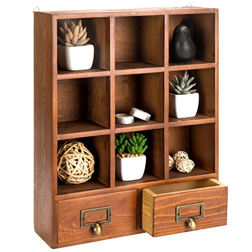 Honey Oak Medicine Cabinet Top - MyGift 16.5 inch Vintage Freestanding Wooden Display Shelves with 2 Drawers Storage 9 Compartment Shadow Box