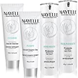 Mask for Dry Skin NAYELLE Natural and Organic Skin Care Set, Facial Cleanser/Day/Night Cream/Clay Mud Face Mask/Wash/Moisturizer for Oily, Dry, Sensitive Skin, Pack of 4