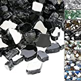 QuliMetal 1/2 Inch Fire Glass, Black High Luster Reflective Tempered Glass Rocks for Indoor Outdoor Fireplaces, Fire Pit, Nat