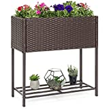 potted herb garden Best Choice Products 2-Tier Indoor Outdoor Patio Wicker Raised Planter Elevated Garden Bed Box Stand for Potted Flowers, Herbs, Succulents - Brown