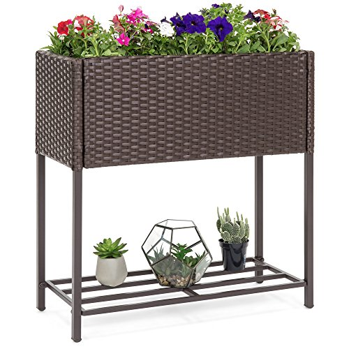 Best Choice Products 2-Tier Indoor Outdoor Patio Wicker Elevated Garden Planter Box Stand for Potted Flowers, Plants, Herbs, Succulents