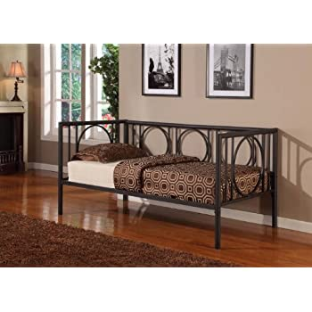 texture black metal twin size day bed daybed frame with rails - Day Bed Frames