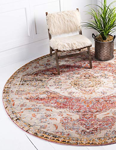 Unique Loom Asheville Collection Vintage Traditional Medallion Multi Round Rug (8' x ()