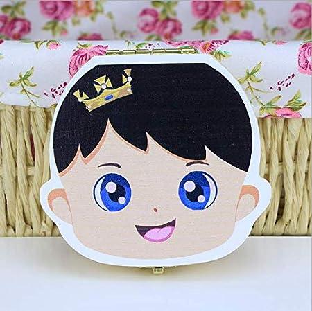 Cajas para dientes de Bebé, Caja para Dientes en Español de Leche,Regalo para Niños en Madera de Souvenir Pintada de Alta Calidad para Almacenamiento de Dientes de Niños