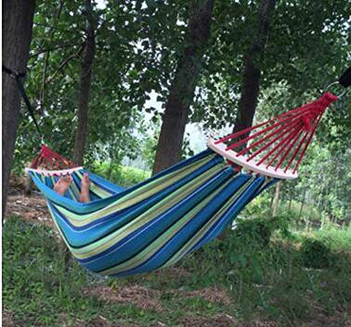 Visible Wind 2 People Outdoor Canvas Camping Hammock Bend Wood Stick Steady Hamak Garden Swing Hanging Chair,Blue Stripes