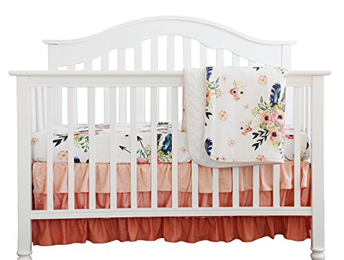 Boho Coral Feather Floral Ruffle Baby Minky Blanket Peach Floral Nursery Crib Skirt Set Baby Girl Crib Bedding Feather Blanket (Feather Floral 3pc ()