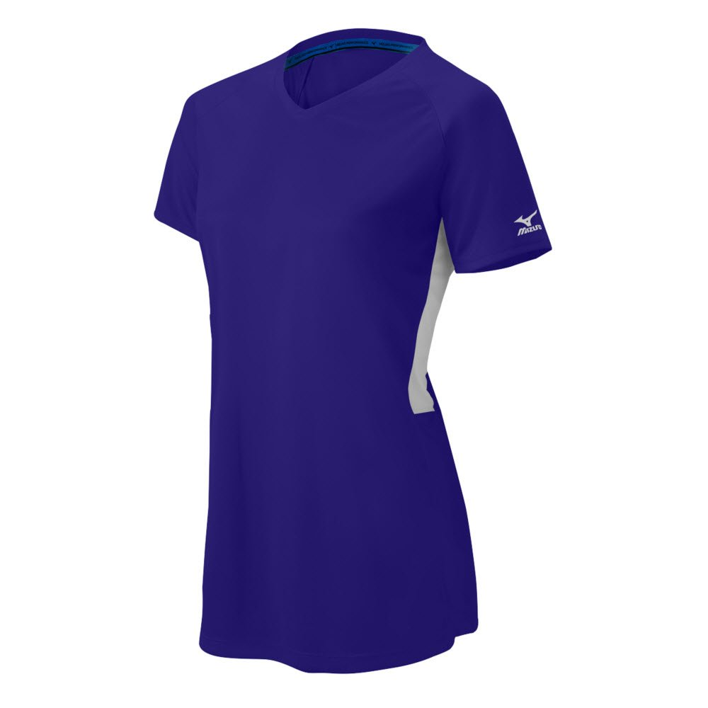 MizunoレディースComp半袖Vネック B071J527VB 3X-Large|Purple-White Purple-White 3X-Large