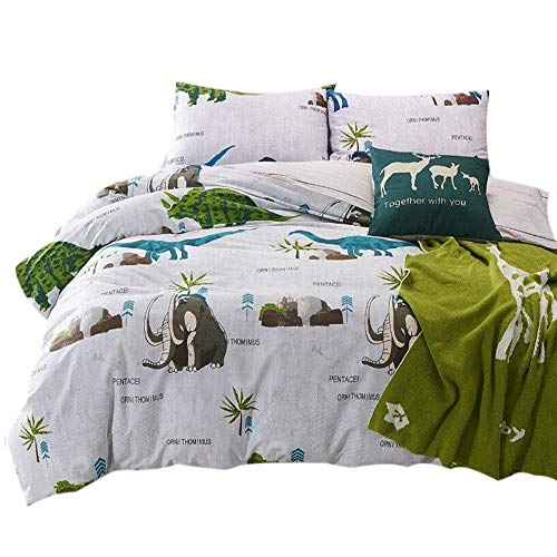 FenDie Home Elephant Bedding Set Gray, Twin Kids Dinosaur Printed Duvet Cover Set Cotton Reversible Plaid, 2 Fitted Pillow Covers