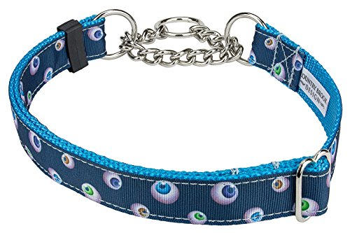 Country Brook Design Spooky Eyes Ribbon Half Check Dog Collar - Extra Large