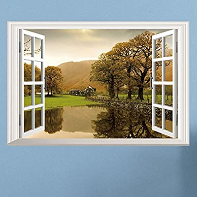 """Homefind 33""""w x 22""""h 3D High Definition Window View of Peaceful Countryside Scenery Lake Meadow Trees Houes Wall Stickers Removable Living Room Bedroom Wall Decals Vinyl Art Murals"""