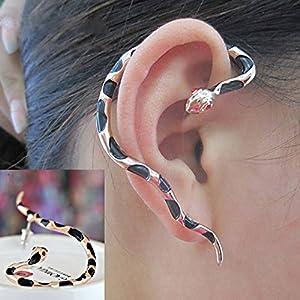 Women Men Punk Alloy Snake Design Ear Cuff Wrap Stud Earrings Jewelry WelcomeShop