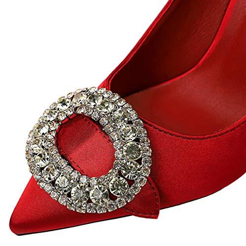 Femmes Stiletto Satin A Pour Qqwe Chaussures Boucle Strass Bout Talons Hauts Pointu Black ChrQdtsx