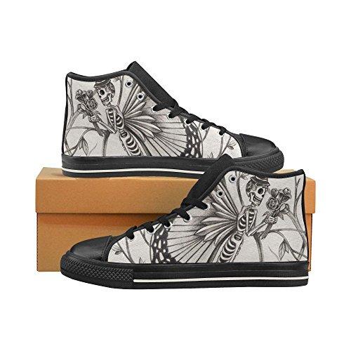 D-histoire Personnalisé Crâne Jour Des Morts Classique Haut Haut Toile Chaussures Sneaker Mode