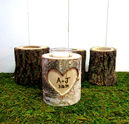 Carved Personalized Anniversary Gift, Wood Log Rustic Wedding Candle Holder (Rustic Carved Wood)