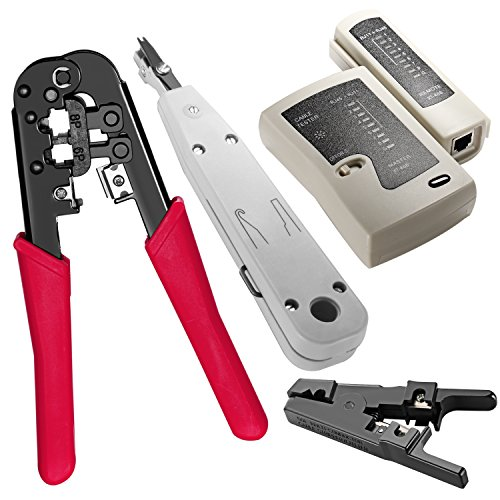 Neewer Portable 5-In-1 Network Cable Repair Kit, Includes: (1)8P 6P Dual-Modular Crimping Tool, (1)Wire Stripper, (1)Cable Tester, (1)Punch Down Tool and (1)Tool Bag Telephone Punch