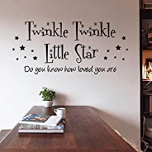 "Twinkle Twinkle Little Star-Vinyl Wall Quote Sticker/Mural Art Decals Decorator 9377 (22.8"" X 10.2""/ 5826cm)"