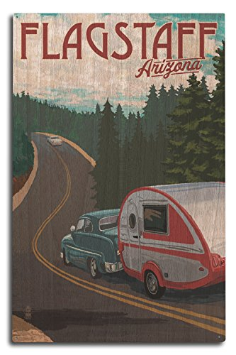 Flagstaff, Arizona - Retro Camper on Road (10x15 Wood Wall Sign, Wall Decor Ready to Hang)